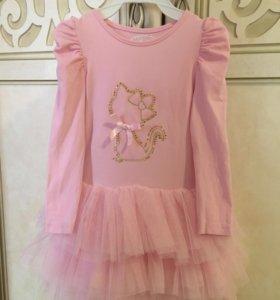 Платье нарядное розовое юбка из тафты