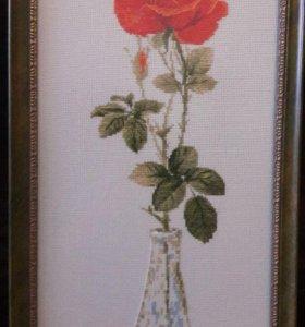 Роза-ручная работа, вышивка.