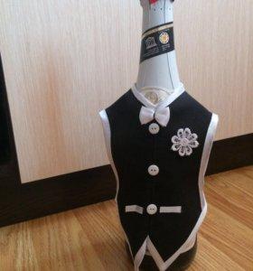 Украшение-одежда на бутылки на Свадьбу