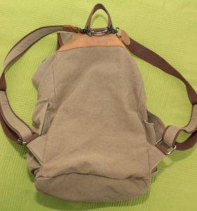 стильный рюкзак из брезента и кожи