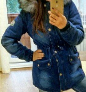 Парка зимняя джинсовая