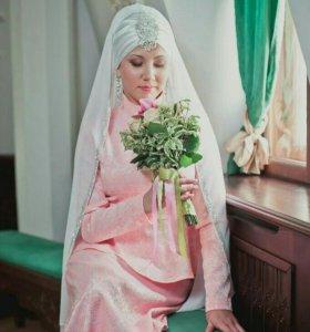 Платье,2 платка,украшение для никаха