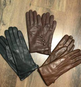 Кожаные перчатки женские