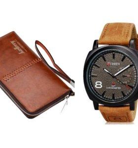 Портмоне BAELLERRY Leather+ часы CURREN 8139