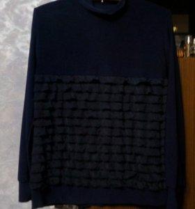 Блузка -бадлон тёмно-синего цвета