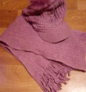 Шапка и шарф комплект.