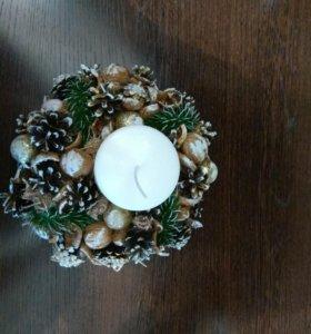 Новогодний подарок свеча свечка украшение сувенир