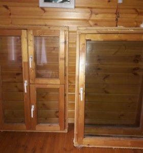 Деревянные Окна, со стеклопакетом (однокамерным).