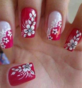 Наращивание и роспись ногтей