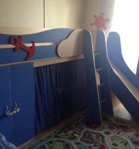 Детская кровать с горкой Адмирал