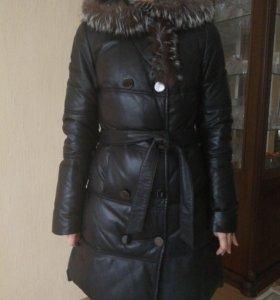 Кожанный пуховик(пальто)