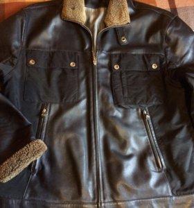 Куртка кожаная XL .
