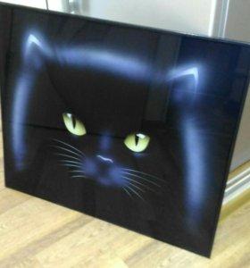 Картина кошка,стекло