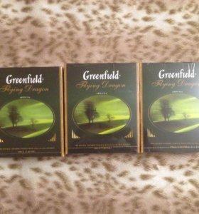 Три упаковки зеленого чая Greenfield