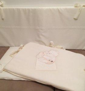 Бортики в кроватку+постельный комплект