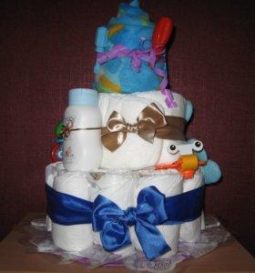 Торт из подгузников размер 5 примерно с 10 месяцев