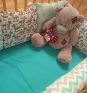 Новые Бортики в кроватку подушки валик игрушки