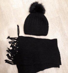 Зимний комплект шапка и шарф