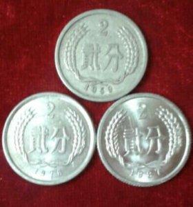 Монеты 2 фень Китая