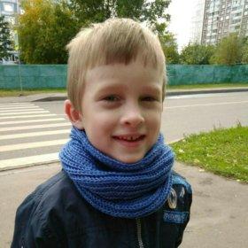 Новый детский шерстяной вязаный шарфик-снуд