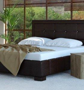 Кровать 160 Кожа рептилии коричневая, ящик белья.