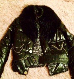 Куртка женская с натуральным мехом, 46
