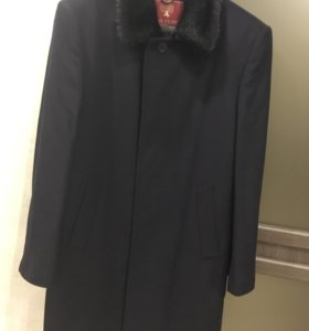 Мужское шерстяное пальто с мехом норки