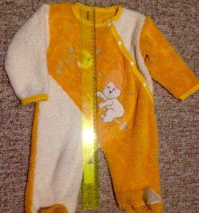 Тёплый комбинезон, слип для малыша 3-6 месяцев