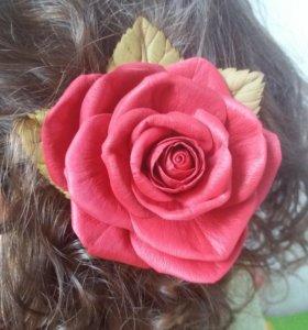Заколка роза (заколка цветок)