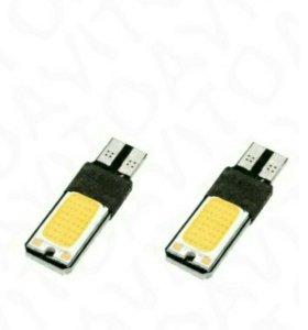 Яркие желтые led лампы t10 пара