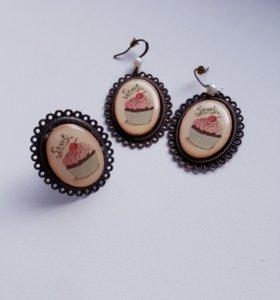 Серьги и кольцо ручной работы