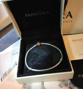 Pandora браслет из серебра с замком из золота 585