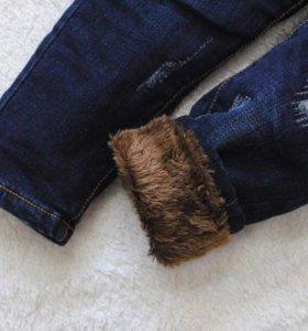 Новые!джинсы штаны утеплённые зима