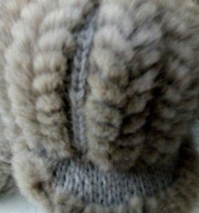 Шапка вязаная норка, цвет серый