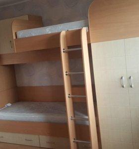 2 ярусная кровать со шкафами