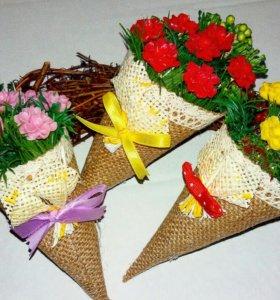 Конвертики-букетики с цветами из мыла