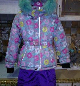 Новый зимний костюм куртка + штаны 128-134
