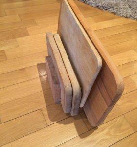 Доски разделочные на подставке деревянные, 6 шт.