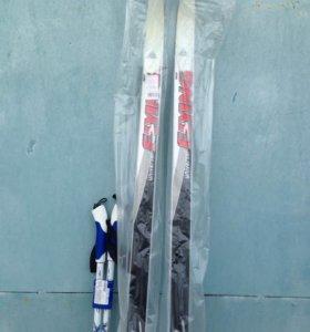 Новый комплект лыжи + палки