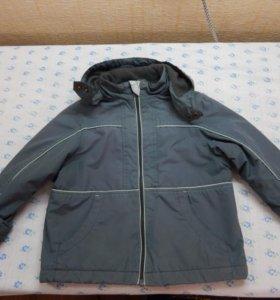 Непродуваемая куртка на флисе рост 110