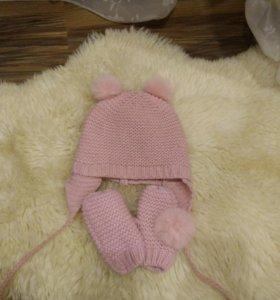 Комплект шапка+ варежки