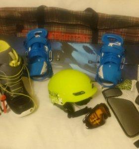 Комплект Подростковый Сноуборд Ботинки Burton Шлем
