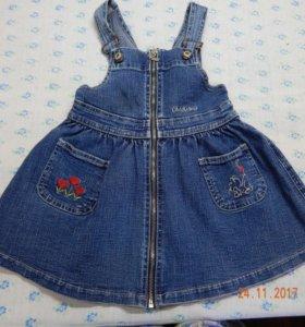 джинсовый сарафан для девочки 2-4 лет