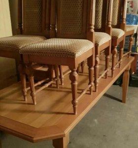 Стол и стулья дуб