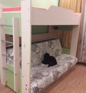 Двухярусная кровать с диваном внизу+ матрас