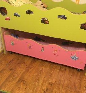 Кровать чердак+выкатная