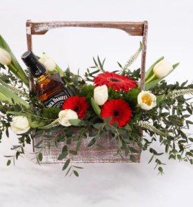Кашпо для цветов из натурального дерева