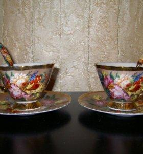 Чайная пара с ложками в позолоте.Англия