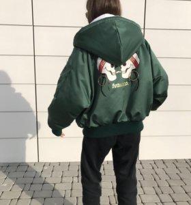 Куртка бомбер атласная утеплённая
