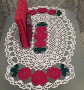 "Салфетка ""красные цветы"""
